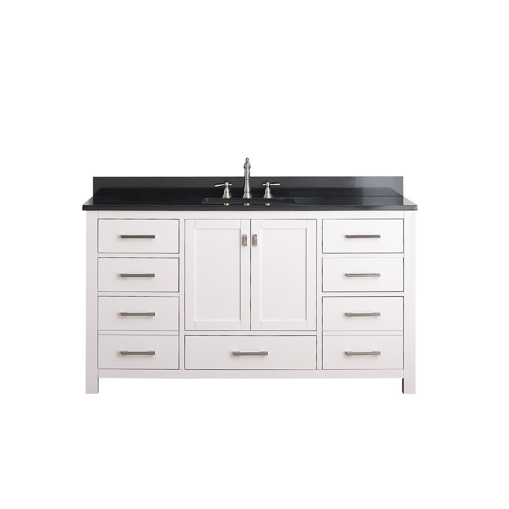 Avanity Modero 60 Inch W Vanity In White Finish With Granite Top In Black The Home Depot Canada