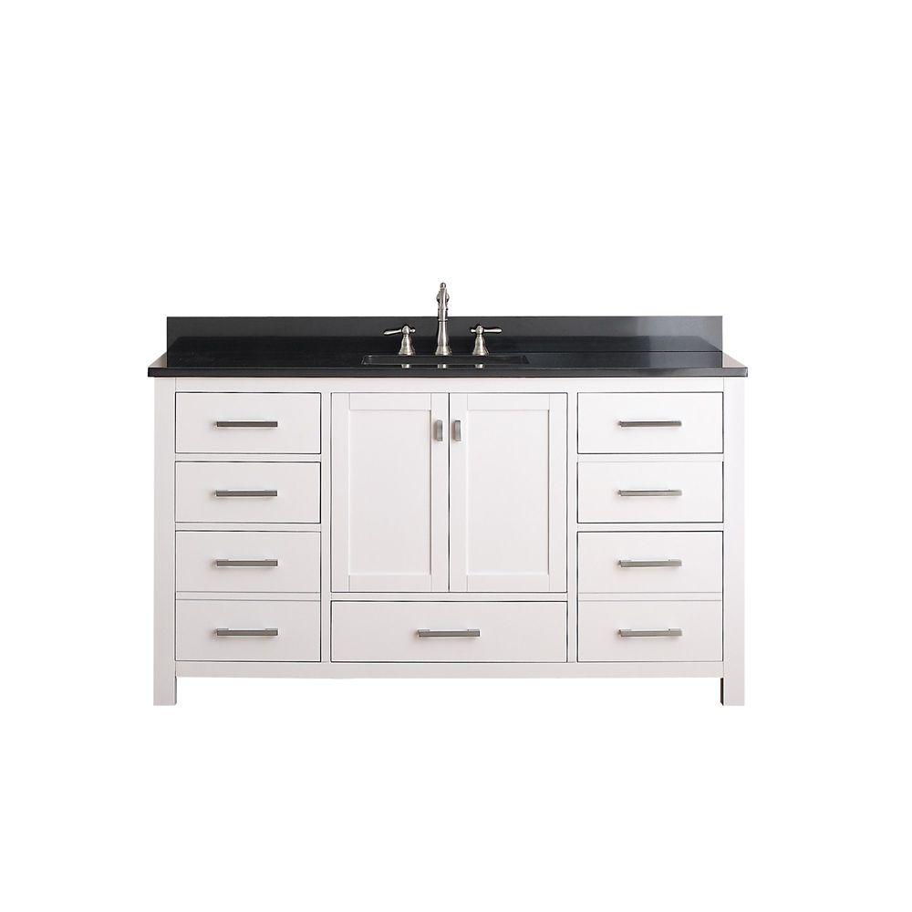 Modero 60-inch W Vanity in White Finish with Granite Top in Black