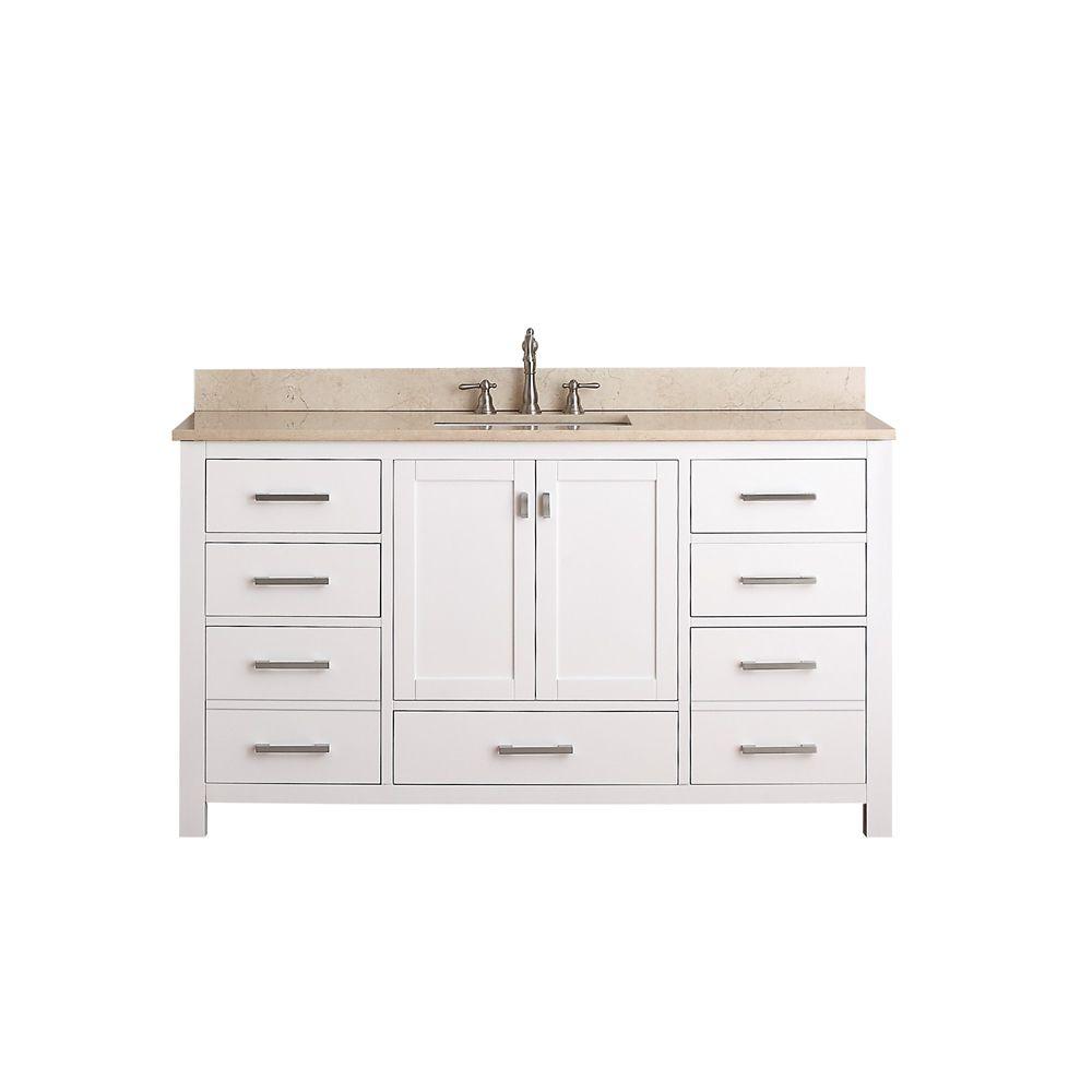 Meuble-lavabo simple Modero de 60 po blanc avec lavabo et comptoir en marbre beige au fini Galala...