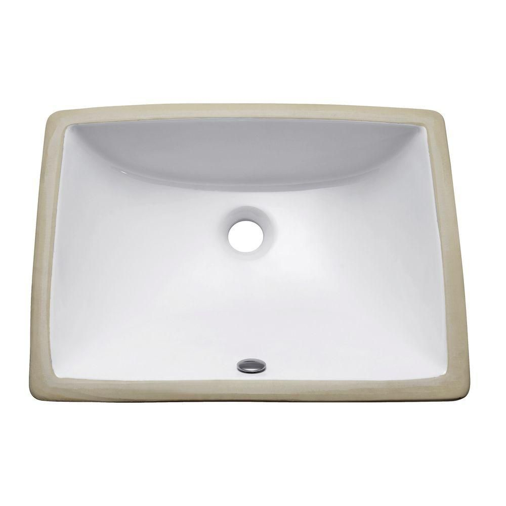 20-inch Rectangular Undermount Vitreous China Sink in White