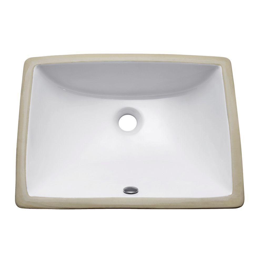20-inch Rectangular Undermount Vitreous China Sink in White