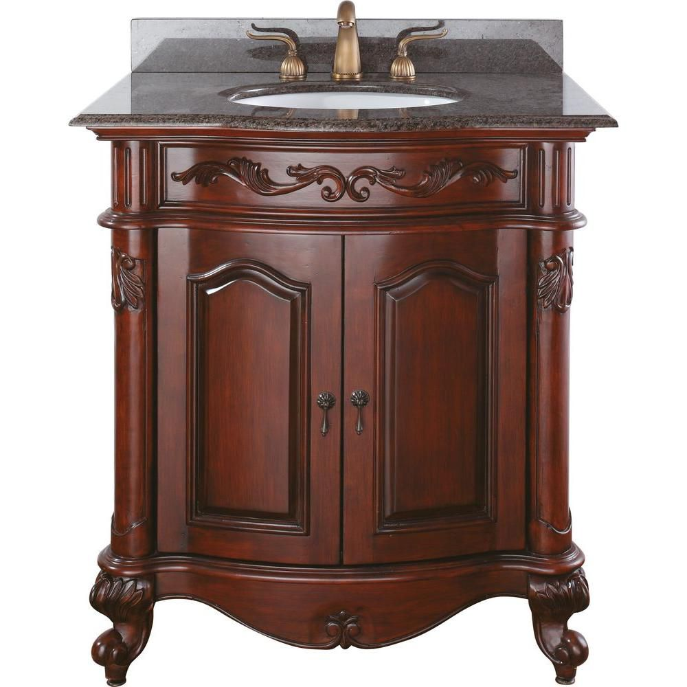Provence 30-inch W Vanity in Antique Cherry Finish with Granite Top in Imperial Brown