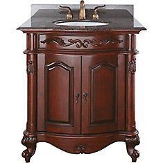 Provence 31-inch W 1-Drawer Freestanding Vanity in Brown With Granite Top in Brown