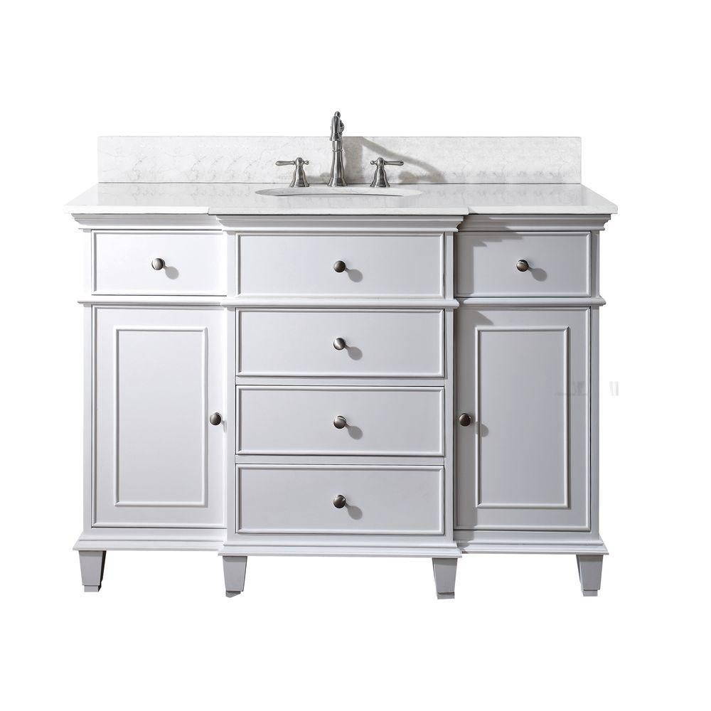 Avanity Windsor 48 Inch W Vanity In White Finish With Marble Top In Carrara White The Home