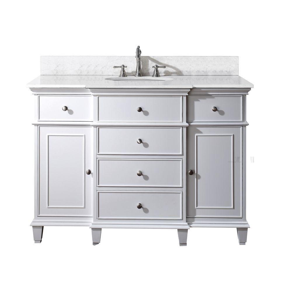 Meuble-lavabo Windsor de 48 po blanc avec lavabo encastré et comptoir en marbre de Carrare blanc ...