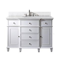 Avanity Windsor 49-inch W 5-Drawer Freestanding Vanity in White With Marble Top in White