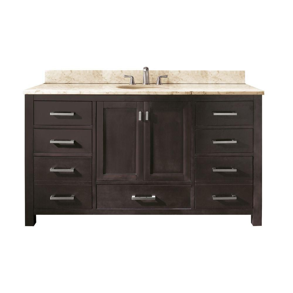 Avanity modero 60 inch single vanity with galala beige marble top and single sink in espresso 60 in bathroom vanities with single sink