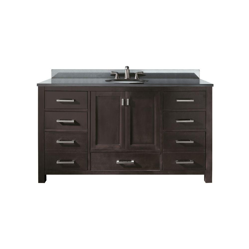 Avanity Modero 61 Inch W 7 Drawer Freestanding Vanity In Brown With Granite Top In Black Double