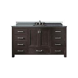 Avanity Modero 61-inch W 7-Drawer Freestanding Vanity in Brown With Granite Top in Black, Double Basins