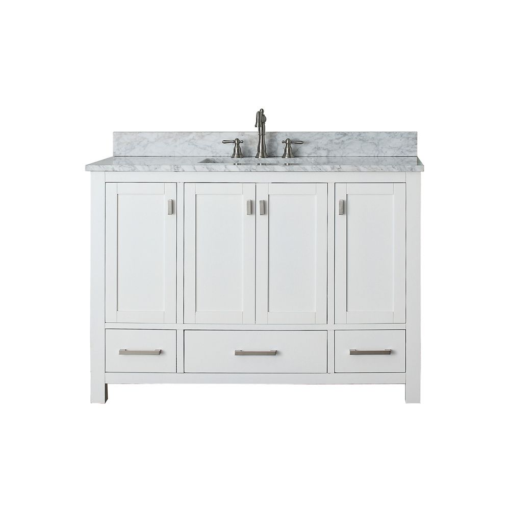 Avanity Modero 49 Inch W 3 Drawer Freestanding Vanity In White With Marble Top In White The