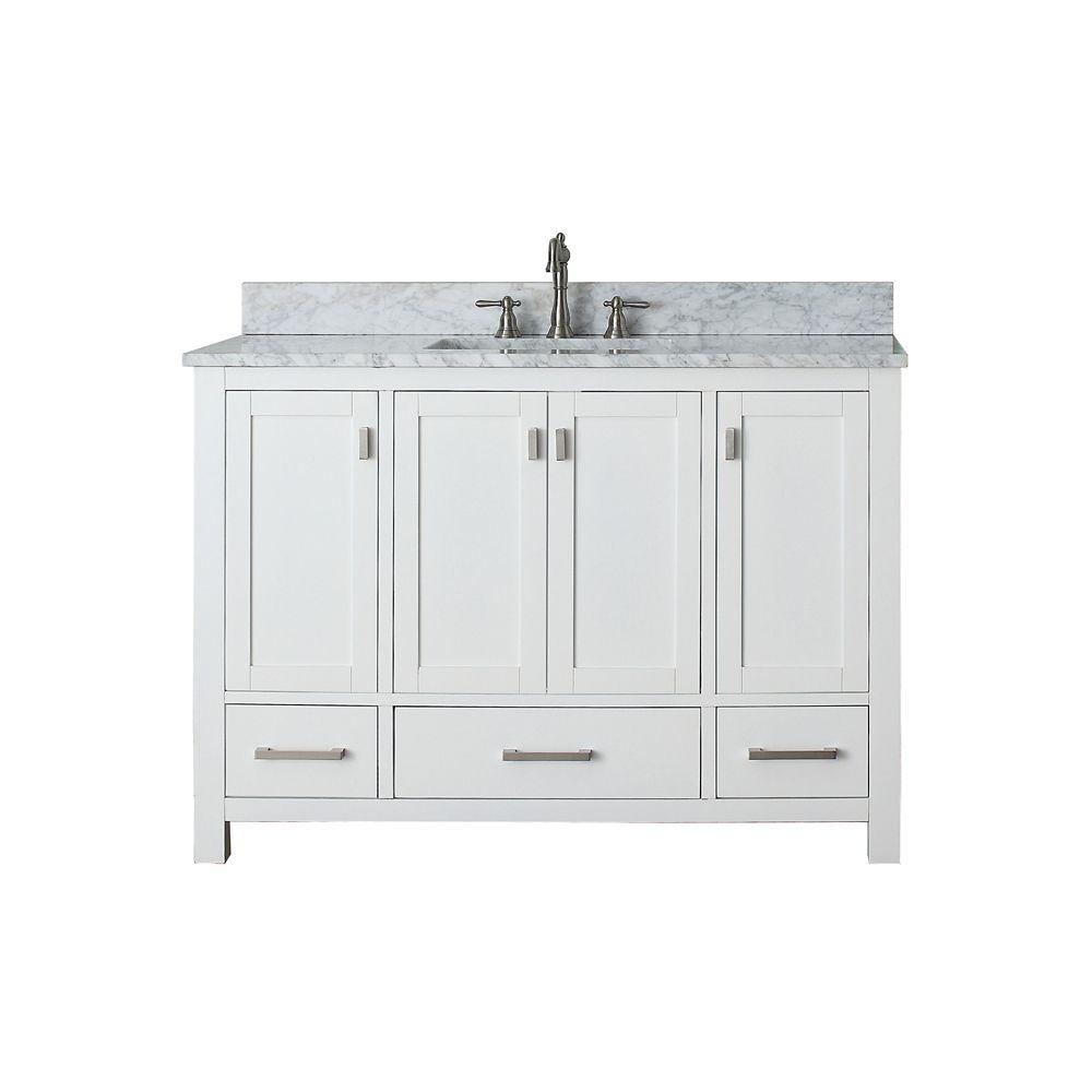 Meuble-lavabo Modero de 48 po blanc avec lavabo et comptoir en marbre de Carrare blanc (Robinet n...