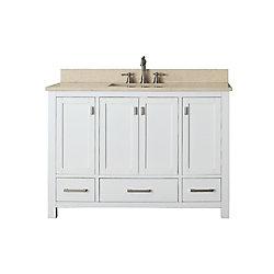 Avanity Modero 49-inch W 3-Drawer Freestanding Vanity in White With Marble Top in Beige Tan