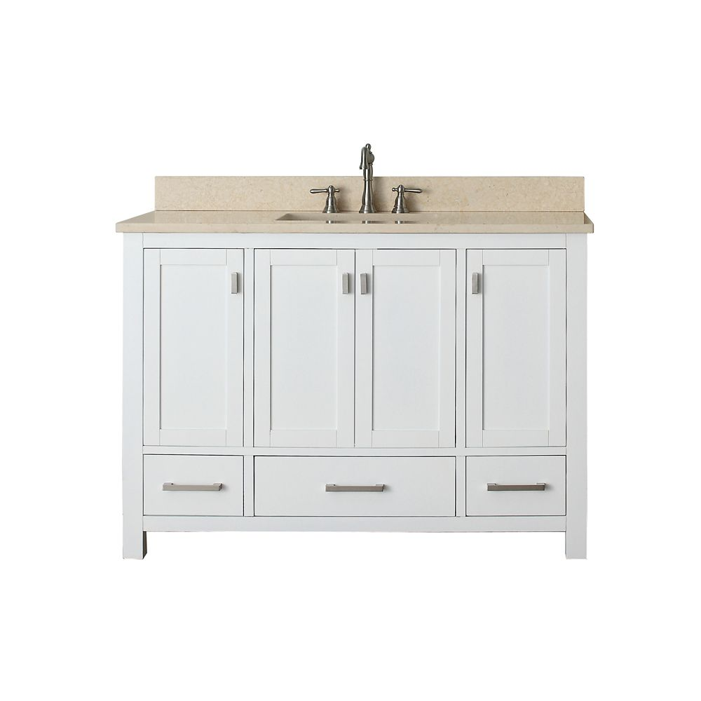 Avanity Modero 49-inch W 3-Drawer Freestanding Vanity in White With Marble Top in Beige Tan