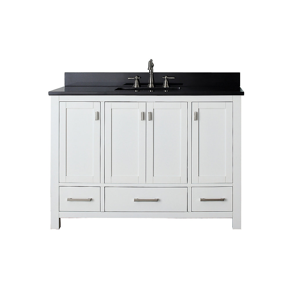 Modero 49-inch W 3-Drawer Freestanding Vanity in White With Granite Top in Black