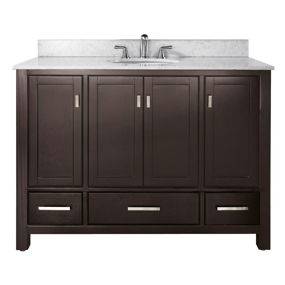Modero 48-inch W Vanity with Marble Top in Carrara White and Espresso Sink
