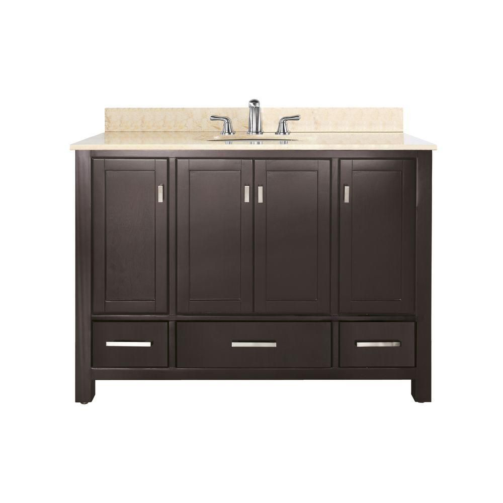 Modero 48-inch W Vanity with Marble Top in Galala Beige and Espresso Sink