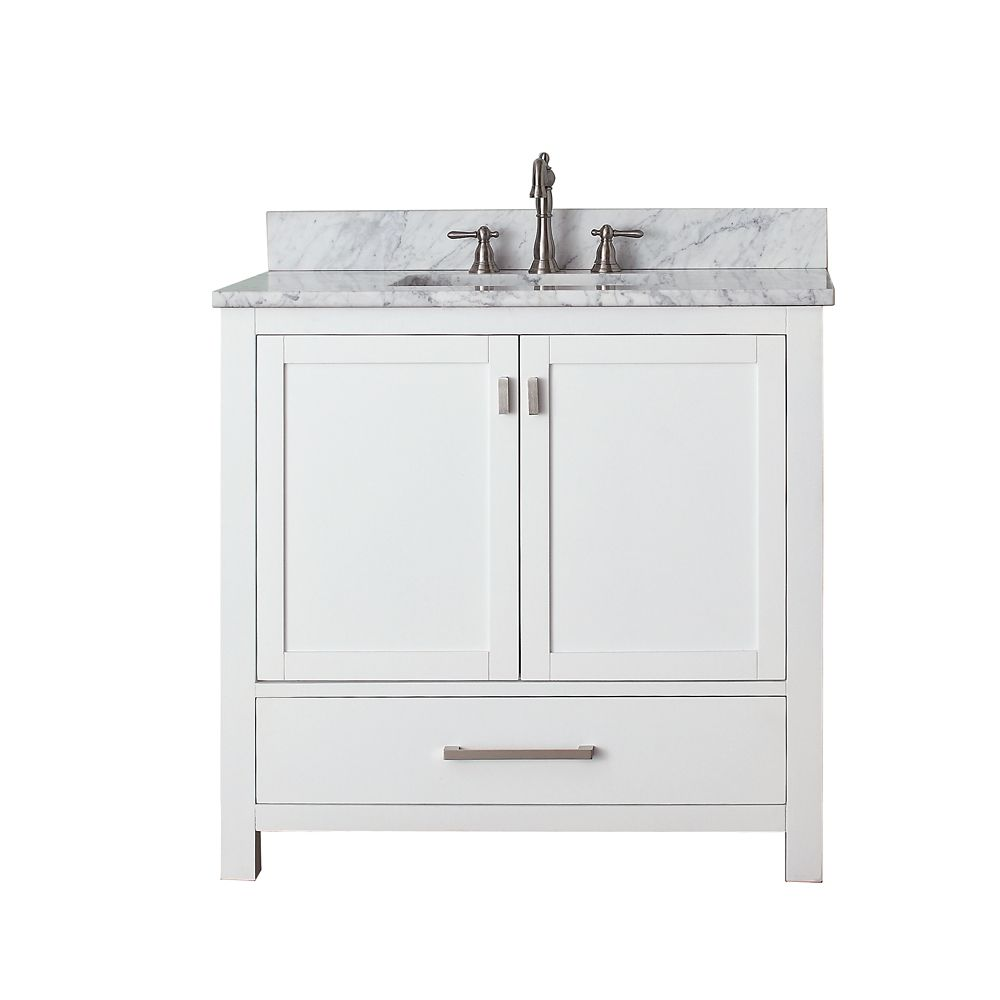 Avanity Modero 36 Inch Vanity With Carrera White Marble Top And Sink In White Finish Faucet Not