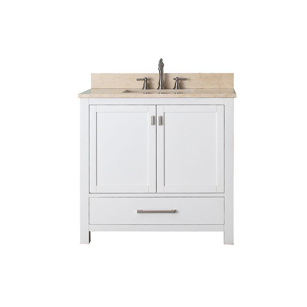 Meuble-lavabo Modero de 36 po blanc avec lavabo et comptoir en marbre beige au fini Galala (Robin...