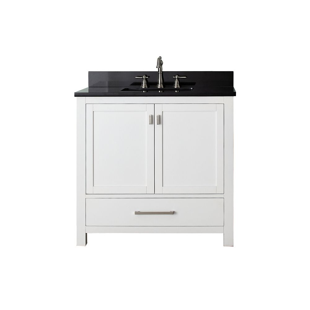 Modero 36-inch W Vanity with Marble Top in Black Granite and White Sink