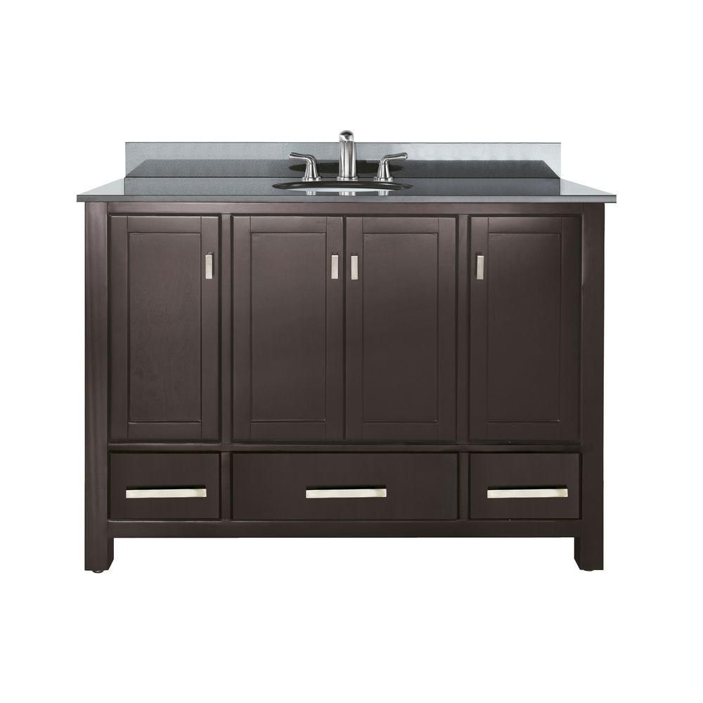 Modero 48-inch W Vanity in Espresso Finish with Granite Top in Black
