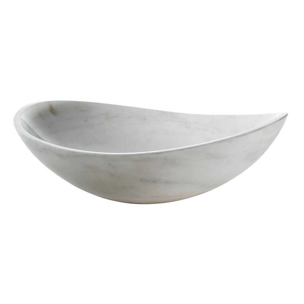 Vasque ovale en marbre blanc