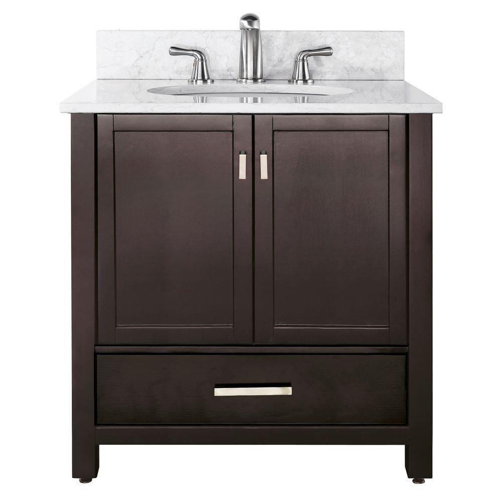 Avanity modero 36 inch w vanity with marble top in carrara white and espresso sink the home Home depot free bathroom design