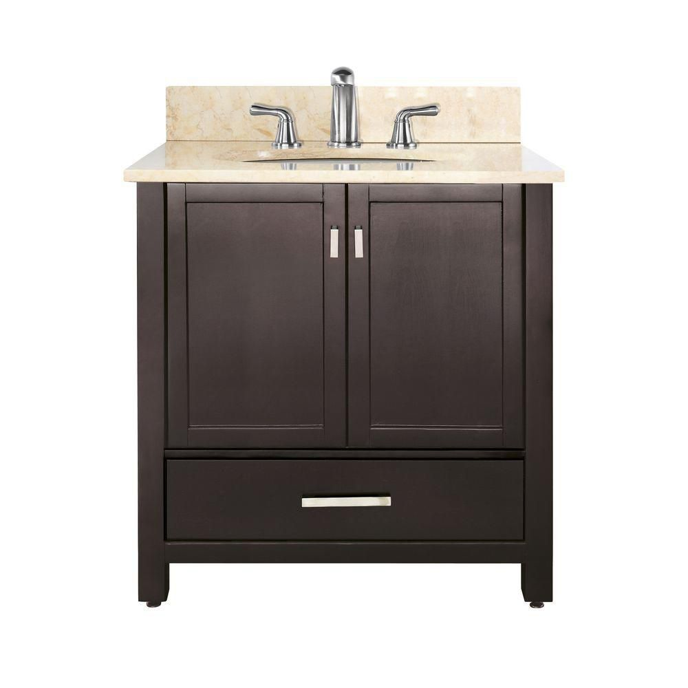 Modero 36-inch W Vanity with Marble Top in Galala Beige and Espresso Sink