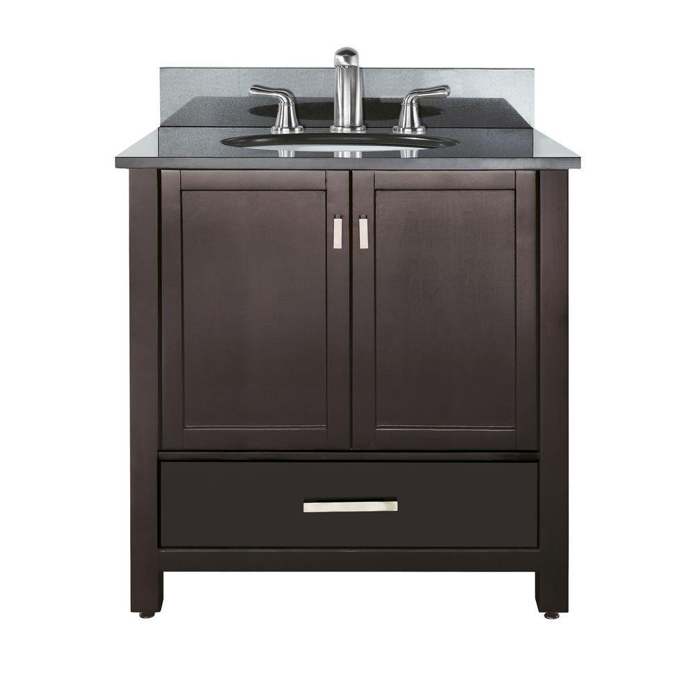 Meuble-lavabo Modero de 36 po avec lavabo et comptoir en granite noir au fini espresso (Robinet n...
