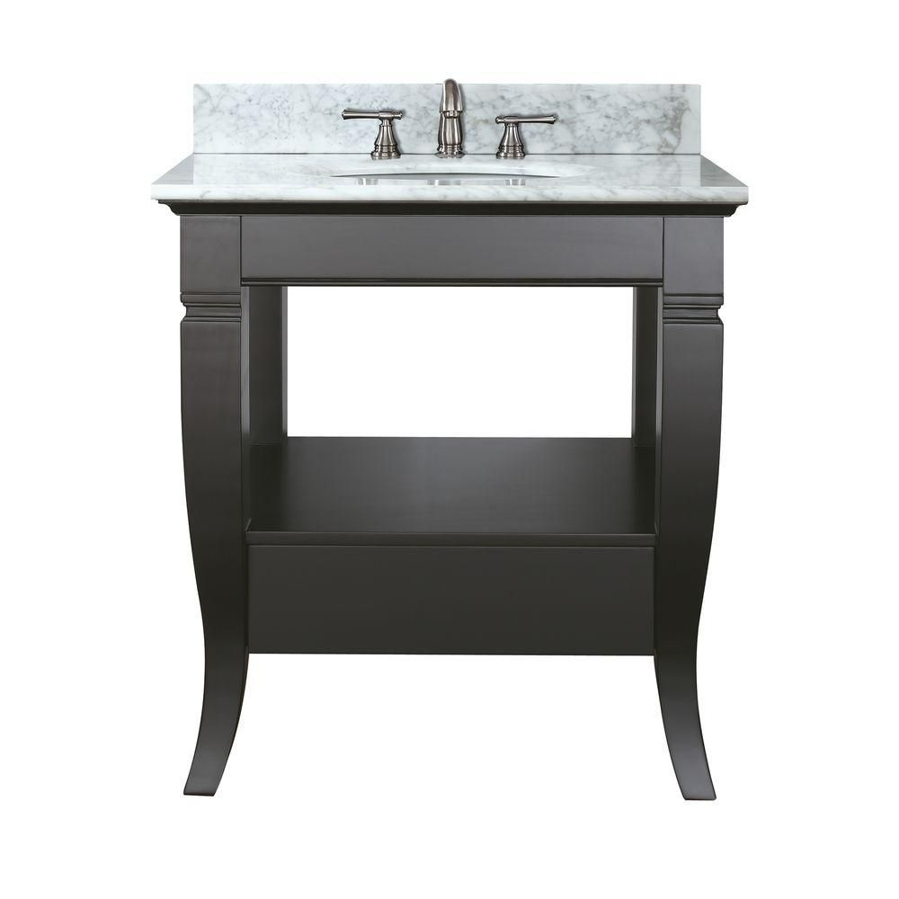 Avanity Milano 31-inch W 1-Drawer Freestanding Vanity in Black With Marble Top in White