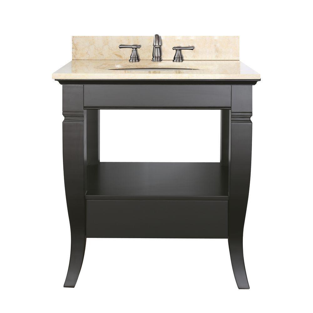 Meuble-lavabo Milano de 30 po noir avec lavabo et comptoir en marbre beige au fini Galala (Robine...