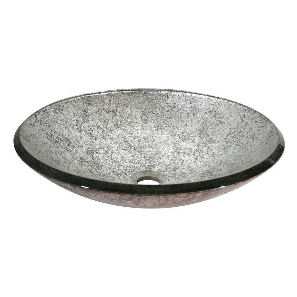Tempered Glass Vessel in Metallic Silver