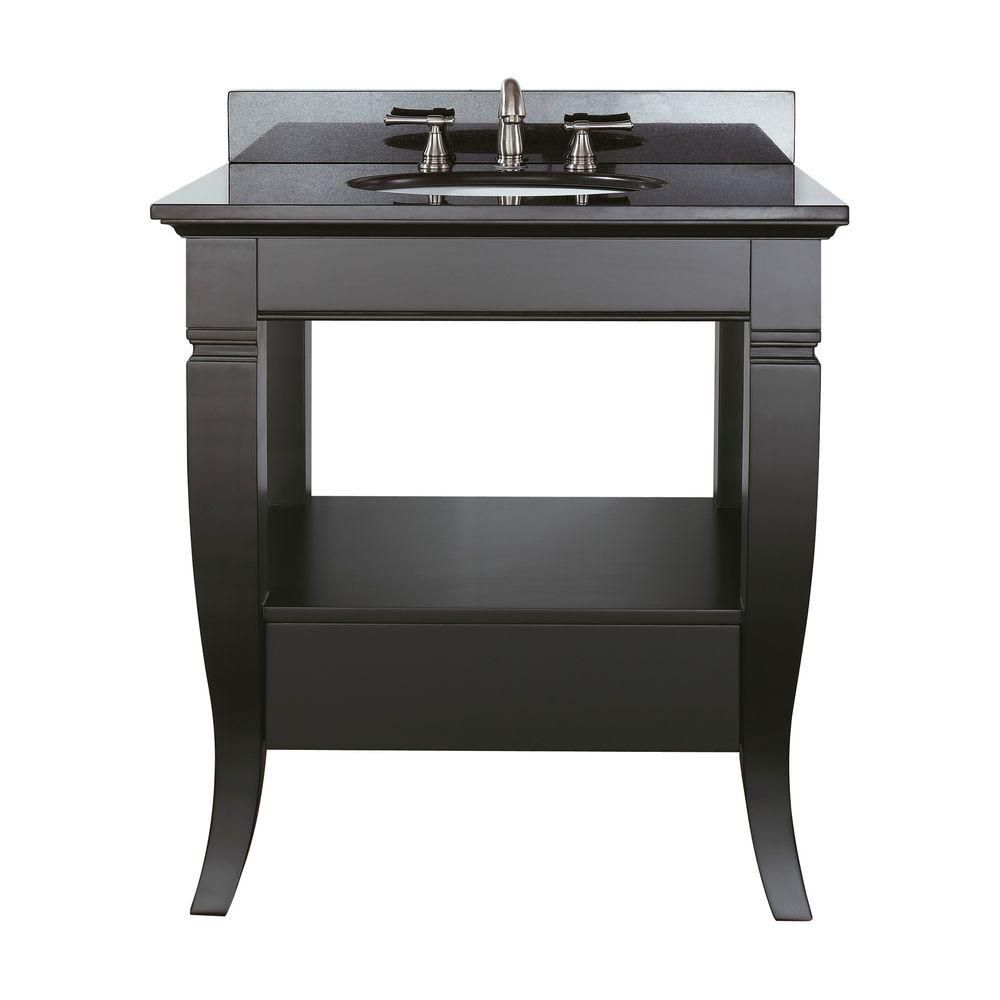 Milano 30-inch W Vanity with Granite Top in Black and Black Sink