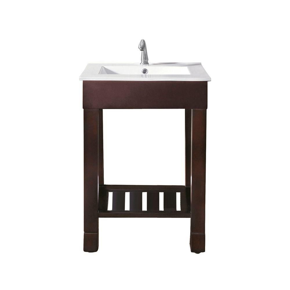 Loft 24-inch W Vanity in Dark Walnut Finish with Vitreous China Top