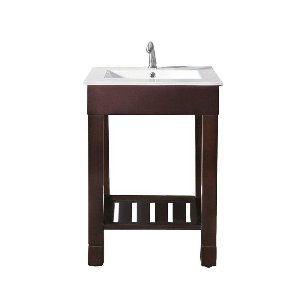 Meuble-lavabo Loft de 24 po au fini noyer foncé avec comptoir intégré en porcelaine vitrifiée (Ro...