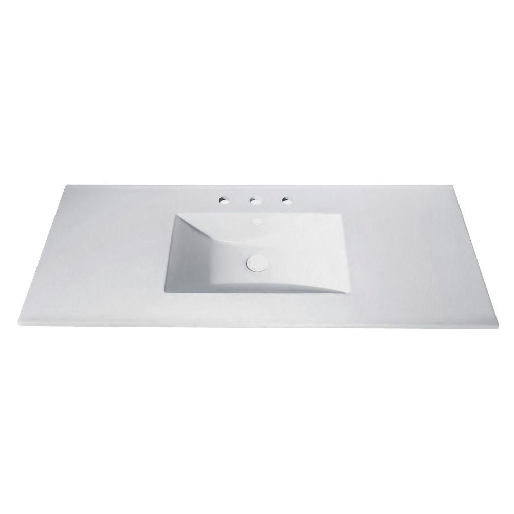 avanity 49 inch vitreous china vanity top with rectangular bowl in white the home depot canada. Black Bedroom Furniture Sets. Home Design Ideas