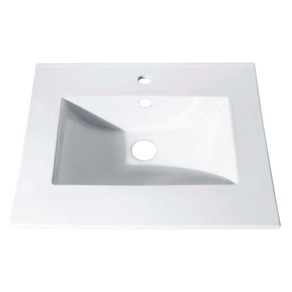 Avanity 25-inch Vitreous China Vanity Top with Rectangular Bowl in White