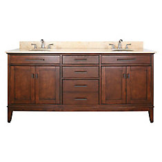 Madison 73-inch W 3-Drawer Freestanding Vanity in Brown With Marble Top in Beige Tan, Double Basins