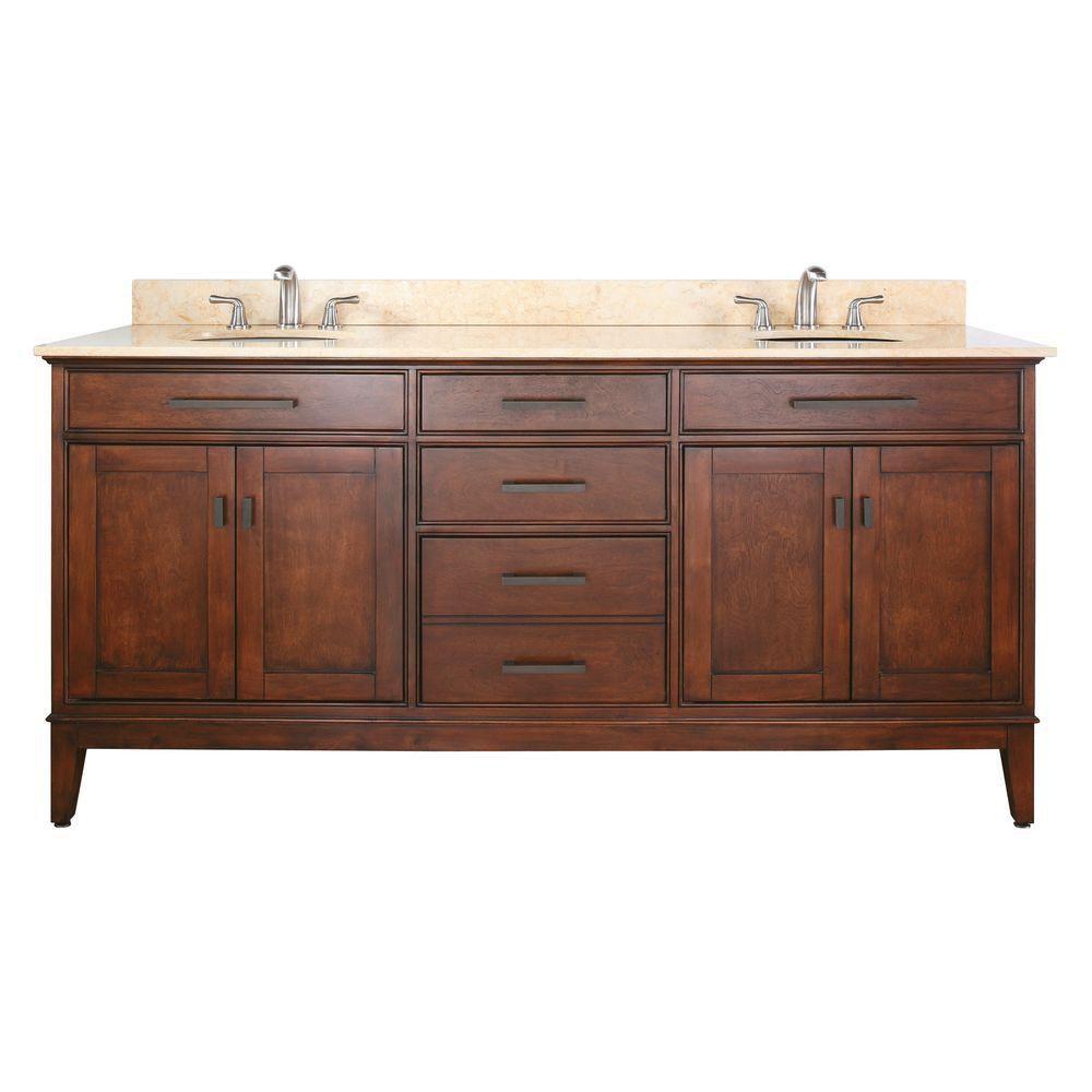 Avanity Madison 73-inch W 3-Drawer Freestanding Vanity in Brown With Marble Top in Beige Tan, Double Basins