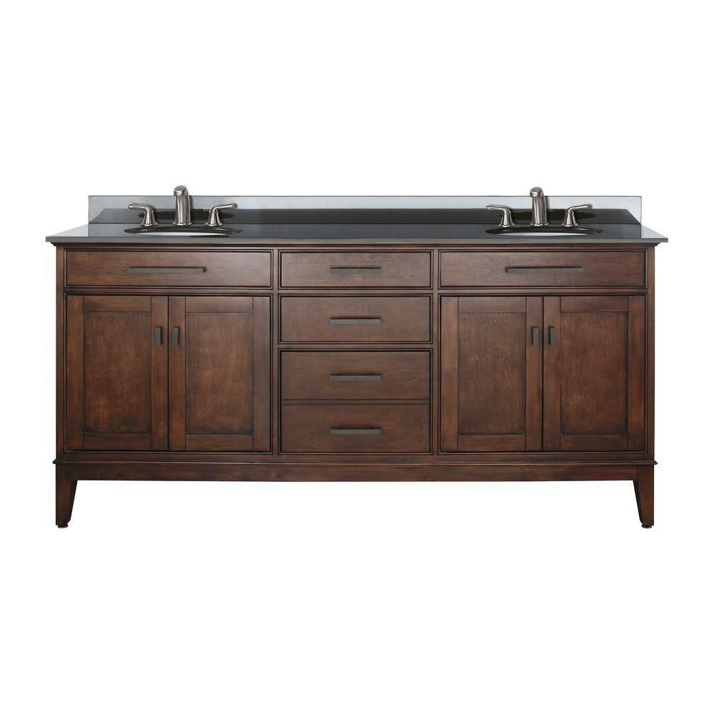 Avanity Madison 72 Inch W Double Sink Vanity In Tobacco Finish With Granite Top In Black The