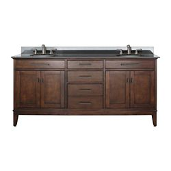 Avanity Madison 73-inch W 3-Drawer Freestanding Vanity in Brown With Granite Top in Black, Double Basins