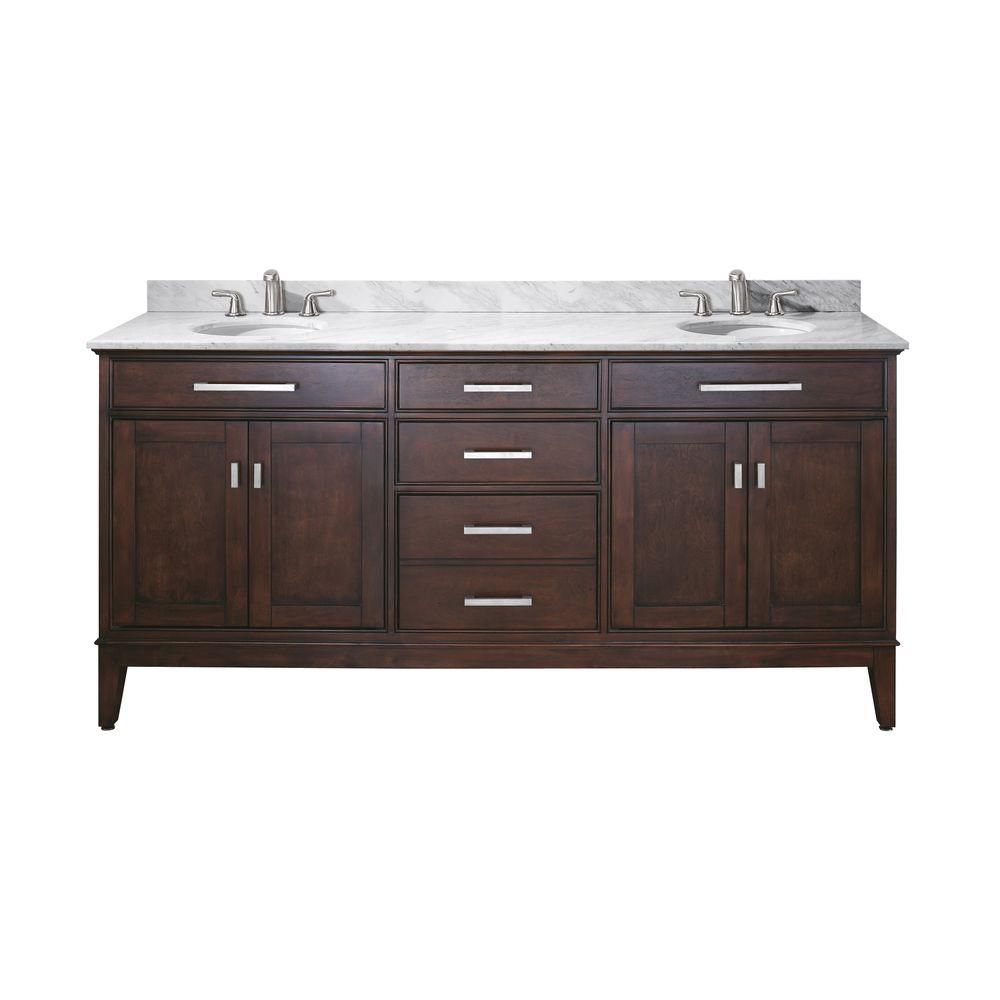 Madison 72-inch W Vanity with Marble Top in Carrara White and Light Espresso Double Sinks