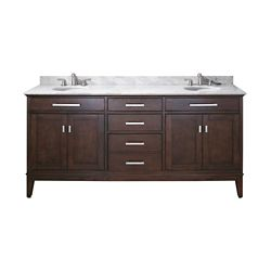 Avanity Madison 73-inch W 3-Drawer Freestanding Vanity in Brown With Marble Top in White, Double Basins