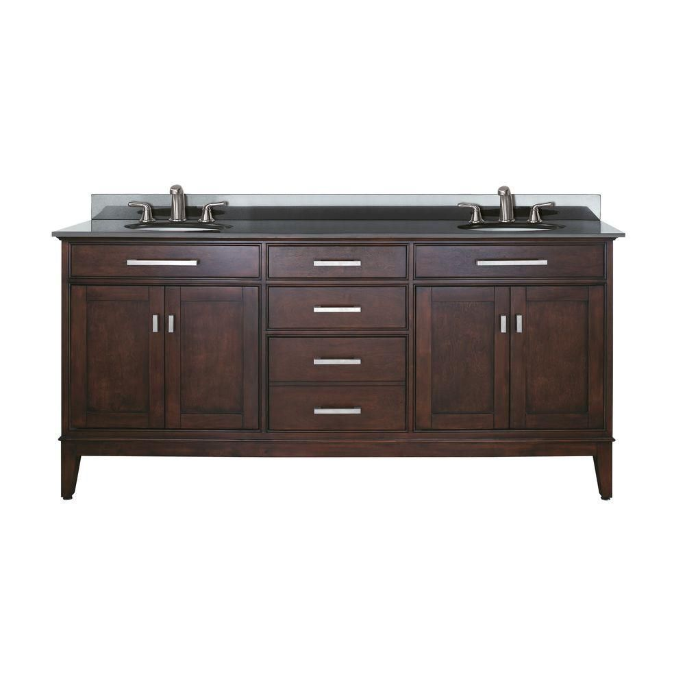 Meuble-lavabo Madison de 72 po au fini espresso clair avec lavabo double et comptoir en granite n...