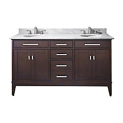 Avanity Madison 61-inch W 3-Drawer Freestanding Vanity in Brown With Marble Top in White, Double Basins