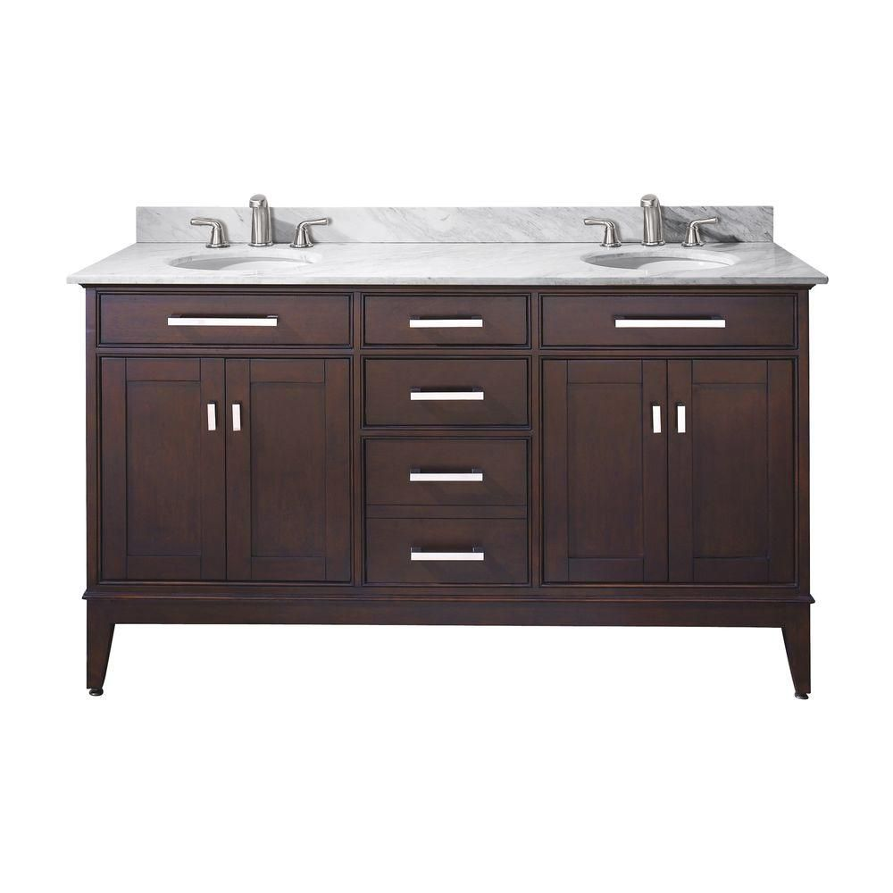 Madison 60-inch W Double Sink Vanity in Light Espresso Finish with Marble Top in Carrara White