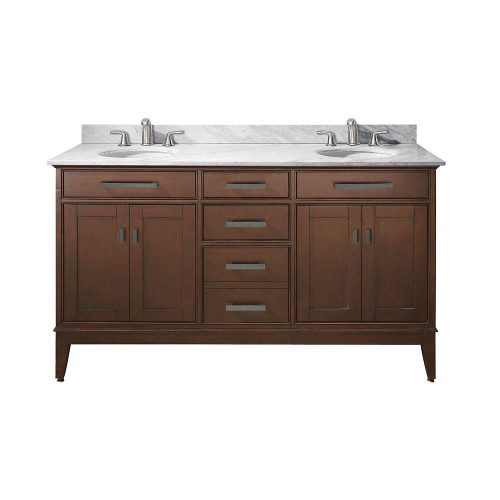 Madison 60-inch W Vanity with Marble Top in Carrara White and Tobacco Double Sinks