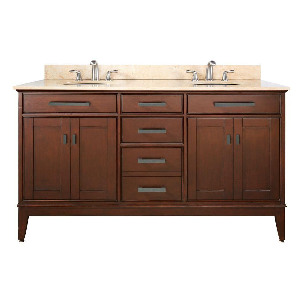 Meuble-lavabo Madison de 60 po au fini tabac avec lavabo double et comptoir en marbre beige (Robi...