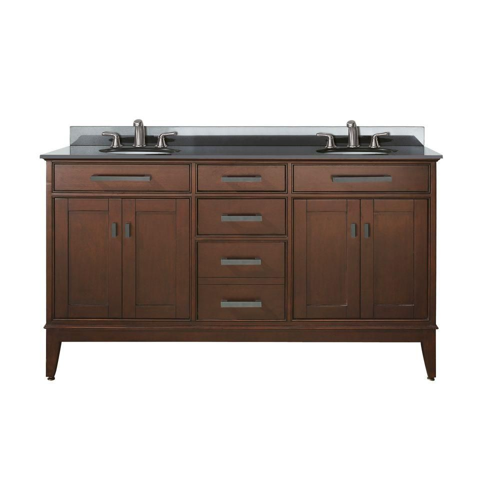 Madison 60-inch W Double Sink Vanity in Tobacco Finish with Granite Top in Black