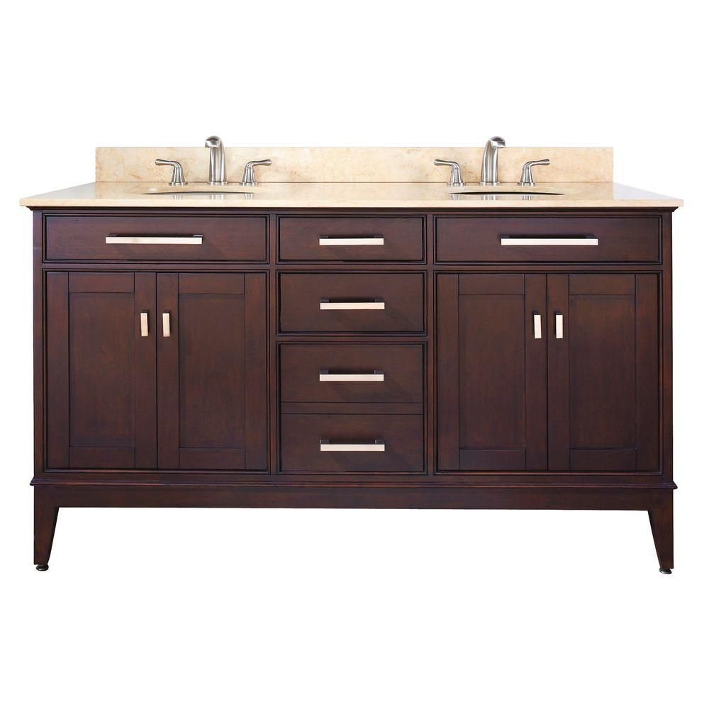 Madison 60-inch W Double Sink Vanity in Light Espresso Finish with Marble Top in Beige