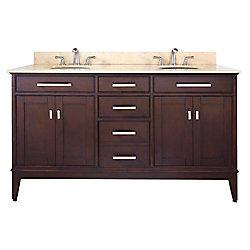 Avanity Madison 61-inch W 3-Drawer Freestanding Vanity in Brown With Marble Top in Beige Tan, Double Basins